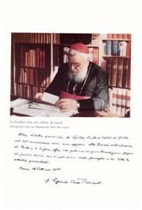 Cardinale EUGENIO TISSERANT Vescovo di Porto e Santa Rufina-Foto ,con dedica alla parrocchia dello Spirito Santo di Castel di Guido