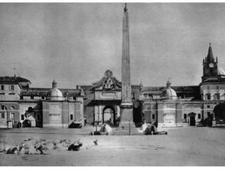 ROMA-Piazza del Popolo – dagherrotipo(foto) di un gregge di capre e pecore sosta in piazza del Popolo 1865.
