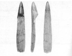 CASTEL DI GUIDO - PRIMA DELLA STORIA- Strumenti su punta di zanna di elefante ritrovati nel corso degli scavi a Castel di Guido