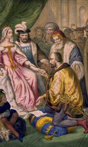 Cristoforo-Colombo-in-ginocchio-davanti-alla-regina-Isabella-di-Castiglia