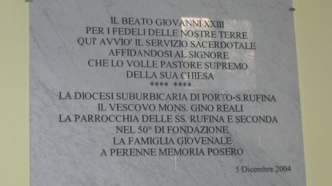 Castello della Porcareccia-Epigrafe Papa Giovanni XXIII