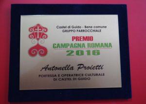 ANTONELLA PROIETTI, POETESSA PREMIO CAMPAGNA ROMANA 2016