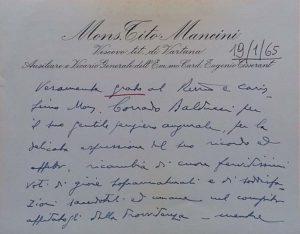 Monsignor Tito MANCINI-Biglietto Autografo