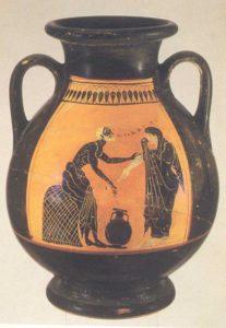 Vendita dell'olio. Pelike a figure nere. Produzione attica, 510-500 a.C. Museo Archeologico Nazionale, Firenze.