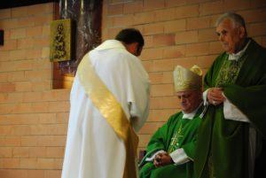 S.E. Mons. GINO REALI -Vescovo di Porto e Santa Rufina e Mons. Diego Bona - ex-Vescovo di Porto e Santa Rufina (1985 - 1994) e Don Matteo Moretti