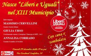 "ROMA Capitale Municipio XIII-E' nato ""LIBERI e UGUALI"","