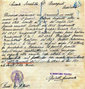 Denuncia PSI-17 APRILE 1944 RASTRELLAMENTO DEL QUADRARO