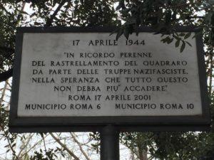 Targa 17 APRILE 1944 RASTRELLAMENTO DEL QUADRARO