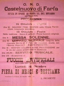 Castelnuovo di Farfa (Rieti) - Programma festa Madonna del Rosario anno 10 ottobre 1933