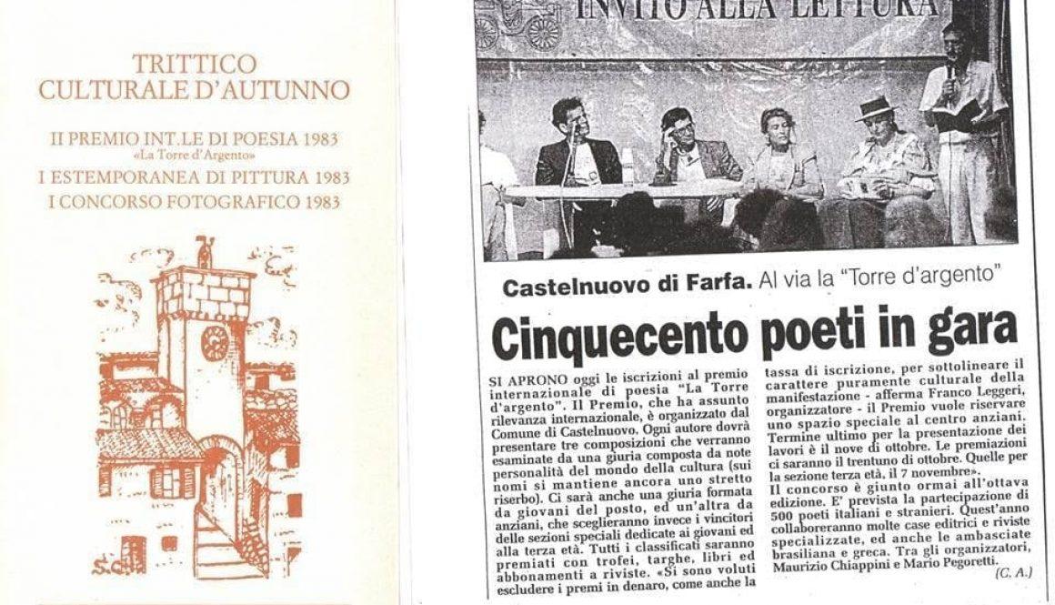 """Castelnuovo di Farfa -40simoPremio letterario """"LA TORRE D'ARGENTO""""-1982-2022"""